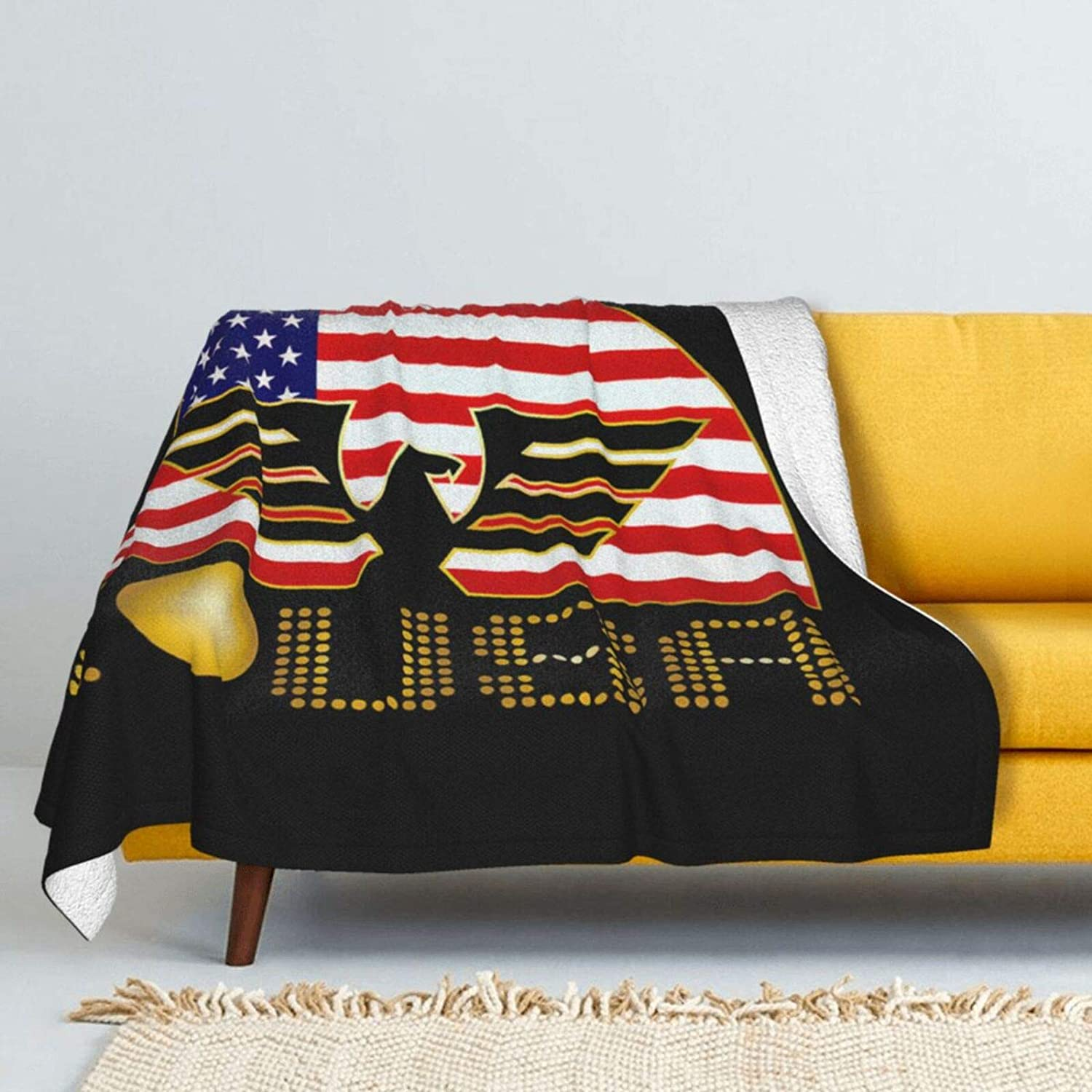 I Love USA Eagle Flag Lamb Under blast sales Double- Throw OFFicial shop Soft Blanket Super Wool