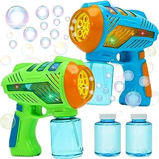 JOYIN 2 Pcs Bubble Guns and 2 Bottles of 147 ml (5 oz) Bubble Solution for Kids & Adults Indoor & Outdoor Bubble Machine, ...