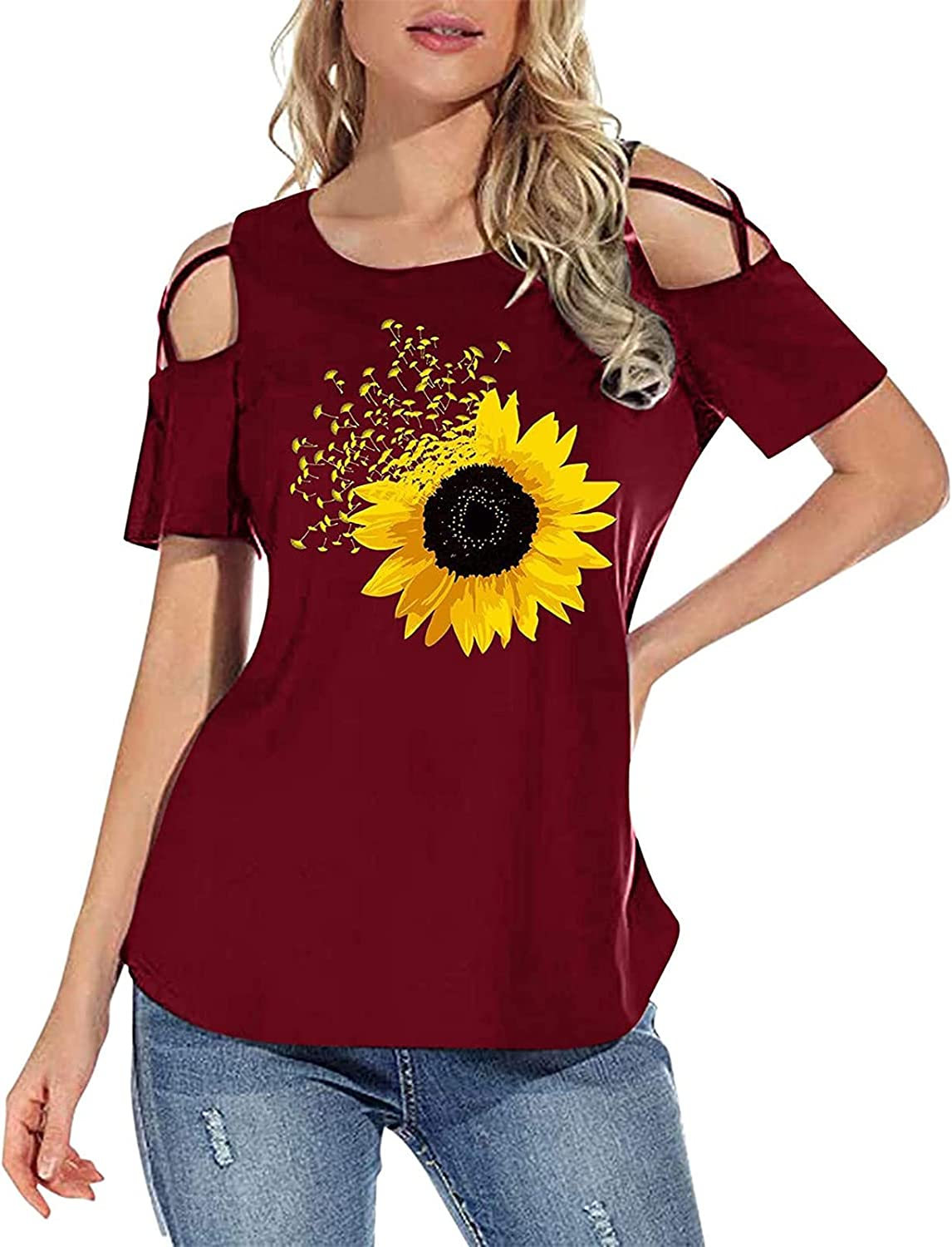 Anu Linen Women's Strappy Cold Shoulder Tunic,Floral Printing Short Sleeve Tops Summer Causal Boho Tunic Tops for Women