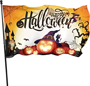 Halloween Flag 3x5 FT, Vivid Color Smile Pumpkin Lantern Flag with Metal Grommets, Durable Polyester Holiday National Flag for Halloween Party Garden Yard Home Decoration Indoor Outdoor (Orange)