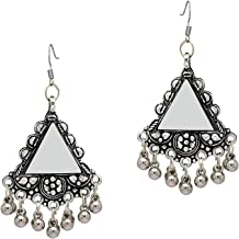 I Jewels Antique Oxidized Silver Earrings for Women & Girls, Black