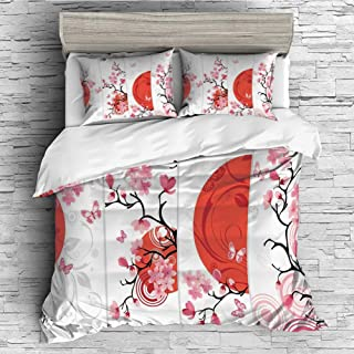 Cotton Duvet Cover 4 Pcs Comforter Cover Set Breathable and Skin-Friendly Bedding Set(queen size)House Decor,Cherry Blossom Illustration with Abstract Sun Butterflies Festive Season Artful Design,Re