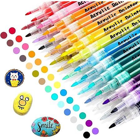 RATEL Peinture Acryliques Stylos, 28 Couleurs Marqueur Peinture Acrylique Premium Permanent Feutre Acrylique Stylo Peinture Acrylique, Pour la Projets d'Artisanat de Bricolage, Céramique, Verre