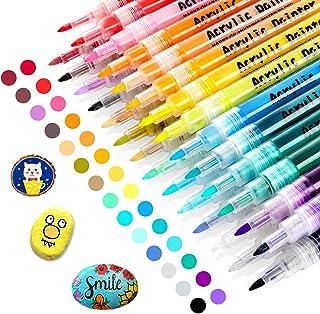 RATEL Peinture Acryliques Stylos, 28 Couleurs Marqueur Peinture Acrylique Premium Permanent Feutre Acrylique Stylo Peintur...
