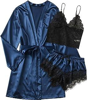 Women's Sexy lace Pajamas, Smooth Fabric Suspender...