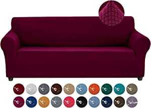 Joccun Stretch Couch Cover Slipcovers, 1-Piece Water Repellent Sofa Covers for 3 Cushion Couch Spandex Jacquard Washable Furniture Protector Cover for Living Room,Kids,Pets(Sofa,Burgundy)