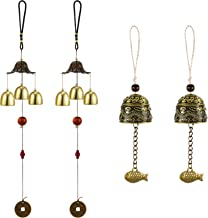 Guoshang Green Pine Cone Shape Bell Rustic Hanging Wind Chime Good Luck Blessing Hanging Ornament for Garden Window Balcony