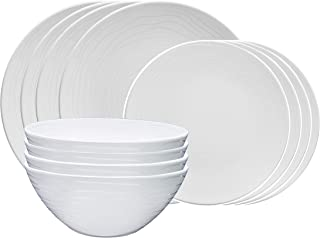 bzyoo BPA-Free Dishwasher Safe 100% Melamine Designed Plate+Bowl Set Best for Indoor and Outdoor Party (12 PCS Dinnerware set, Service for 4, Organica White)