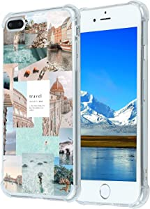 Case for iPhone 7/8,Vintage Vibe Aesthetic Collage Beach Tropical Summer Sea Travel iPhone Case for Girls Women,iPhone 7/8 Case Clear with Aesthetic Design,Slim Soft TPU Case for Apple