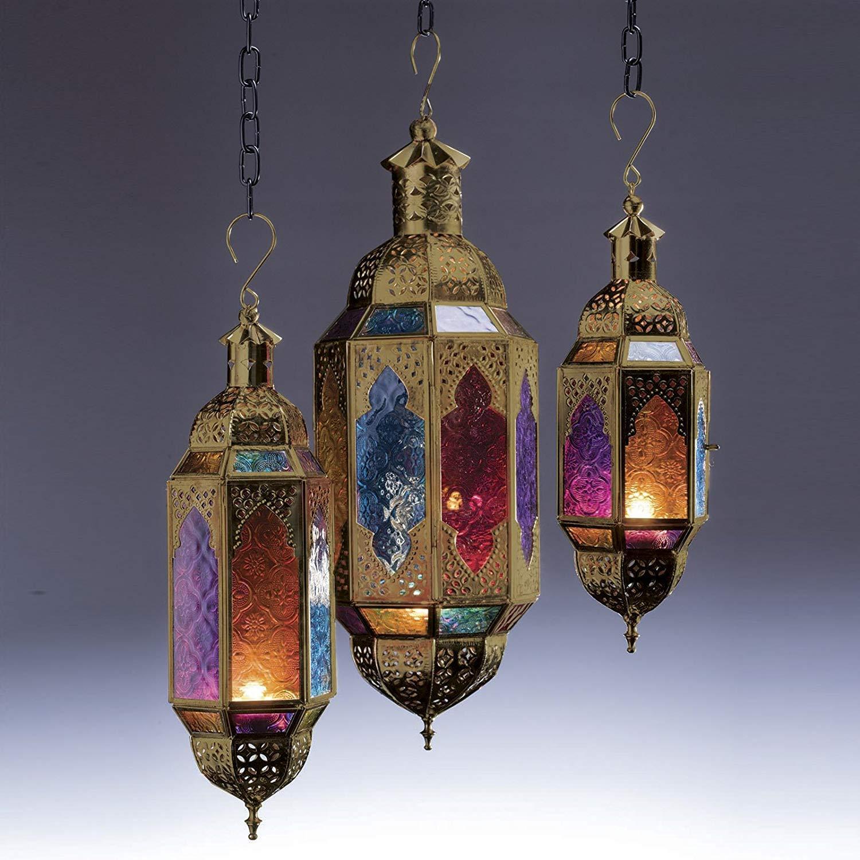 Auténtico portavelas colgante marroquí dorado estilo clásico vintage turco jardín interior grande para decoración, Metal de latón., multicolor, Medium: Amazon.es: Hogar