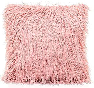 OJIA Deluxe Home Decorative Super Soft Plush Mongolian Faux Fur Throw Pillow Cover Cushion Case (20 x 20 Inch,Blush Pink)