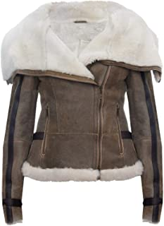 Women's Whiskey Tan Merino Sheepskin Aviator Pilot Biker Leather Jacket