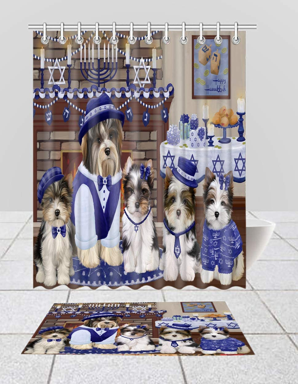 Happy Hanukkah Family Biewer Dogs Curtain Comb Max 46% OFF Mat Bath 55% OFF Shower