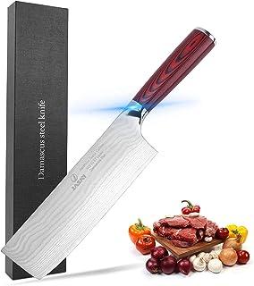Jasni Chef Knife 7 inch - Professional Kitchen Chef's Knife Sharp - Japanese Super Carbon Damascus Steel- Full Tang Pakkaw...