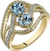 Peora 14K Yellow Gold Two Stone Aquamarine Ring 1.00 Carats Sizes 5-9