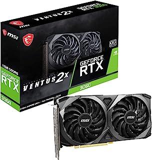 بطاقة رسومات MSI Gaming GeForce RTX 3060 سعة 12 جيجابايت 15 جيجابايت جيجابايت في الثانية GDRR6 192 بت HDMI/DP PCIe 4 Torx ...
