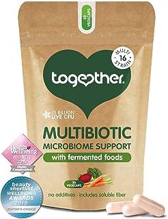 Multibiotisk — Tillsammans hälsa — 45 odlad jäsad mat — flera bakteriella stammar med 13 miljarder CFU — veganvänlig — Til...