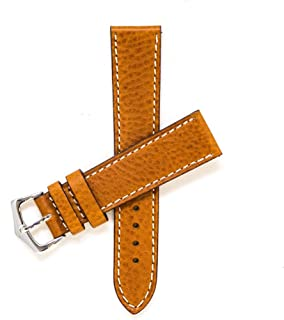 Milano Straps Cognac Leather Watch Strap - Made of Italian Leather - Soft & Pliable - Stainless Steel Polished Buckle - Replacement Watch Band - Perfect for Men & Women