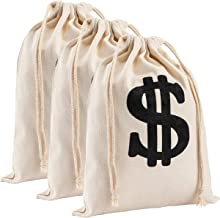 Apipi 3 Pack 11.4 × 15.3 Inches Large Canvas Money Bag Pouch with Drawstring Closure- Canvas Cloth Dollar Sign Carrying Sack for Toy Party Favor, Bank Robber Pirate Cowboy Cosplay Theme Party