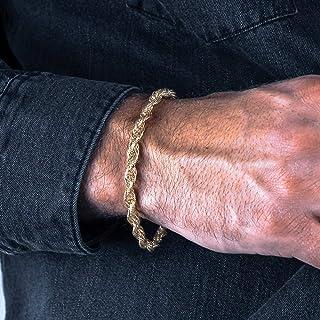 Gold Plated Rope Chain Bracelet for Men, Handmade,...