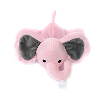 KINREX Pink Elephant Pacifier Holder - Baby Soothie Stuffed Animal Toy - Measures 18 cm. - 7.09