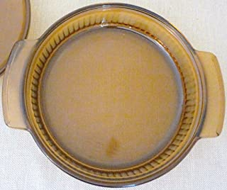 Vintage Retro Anchor Hocking Fire King Amber Glass Ribbed Casserole