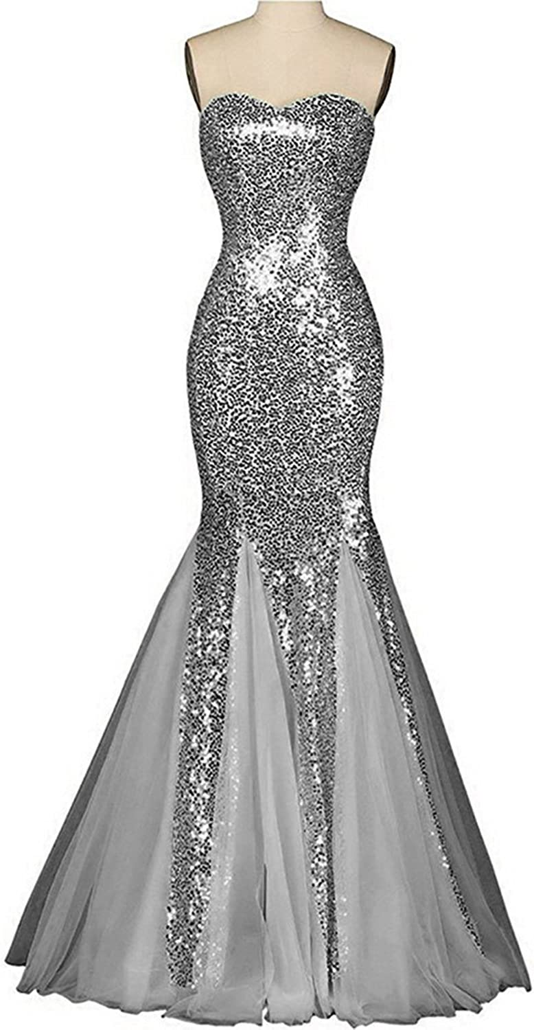 Udresses Womens 2017 Sequin Prom Dress Sweetheart Mermaid Party Evening Gown BR7
