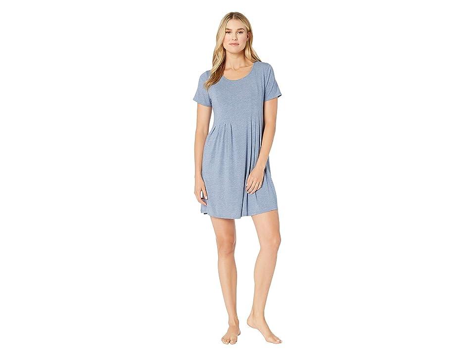 Donna Karan Short Sleeve Sleepshirt (Blue Heather) Women