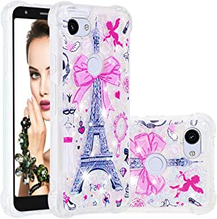 ISADENSER Google Pixel 3a Case Clear Soft TPU Glitter Stylish Design with air Thicked Corner 3D Hearts Quicksand Shiny Flowing Liquid Protective Cover for Google Pixel 3a (2019) Paris Tower YB