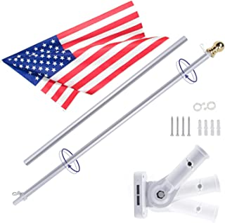 Gientan 6FT Aluminum Tangle Free Spinning Flag Pole Kit with US 100% Polyester Flag, Premium Heavyduty American Flagpole with Stainless Steel Clip & Metal Bracket for Residential or Commercial, Silver