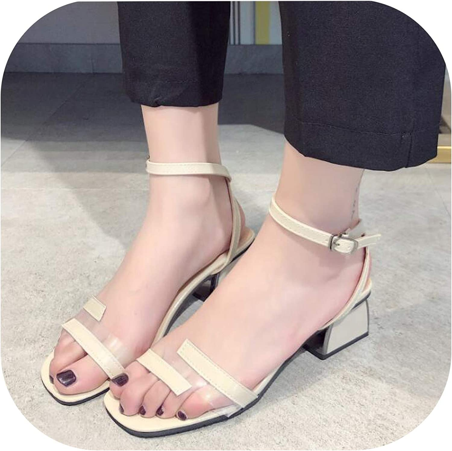Meiguiyuan 2019 Summer Metal Buckle National Wind Wild Simple high Heels Trend Casual Women's Single shoes