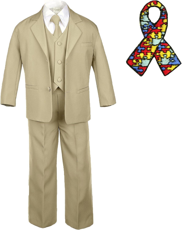 Unotux 5pc Baby Boy Teen Khaki Suit Autism Awareness Puzzle Ribbon Adhesive Hope Patch