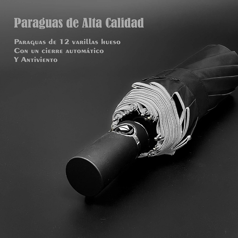 Azul Eleccio Bella Paraguas Plegable Autom/ático con Bolsa Impermeable 14 Varillas Armazones de Metal Compacto Resistencia contra Viento para Viaje para Hombres y Mujeres