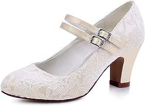 ElegantPark HC1708 Women Mary Jane Block Heel Pumps Closed Toe Lace Bridal Wedding Shoes