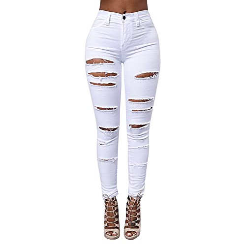a7cc39a9be3 Qingorange Women Skinny Ripped Jeans Distressed Pencil Pants Boyfriend  Trouser