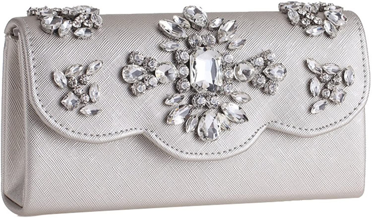 Missfiona Women's Crystal Encrusted PU Leather Evening Clutch Foldover Bar Clasp Casual Shoulder Bag with Detachable Chain