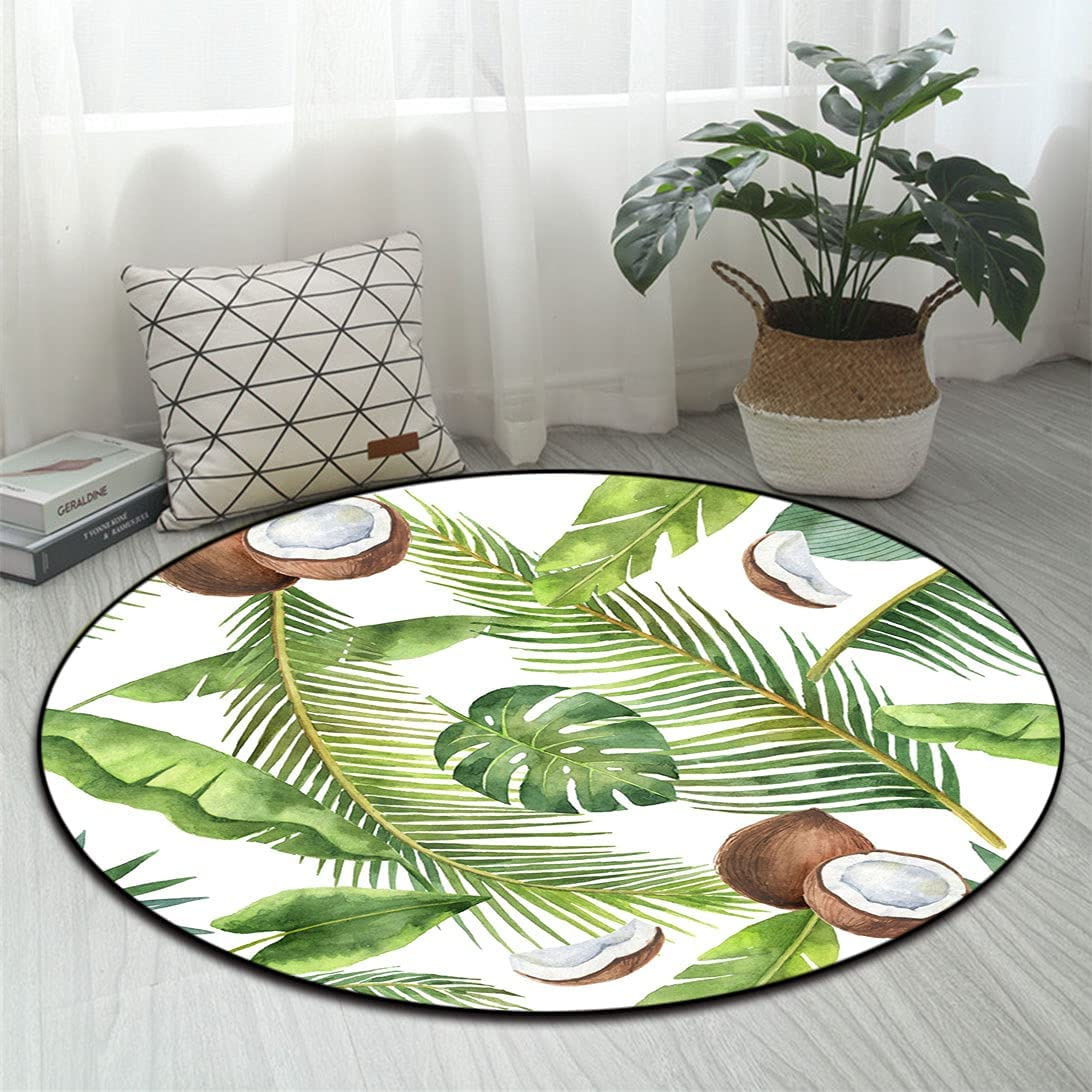 Tropical Gifts Round Carpet Watercolor Pattern a Choice Palm Coconut Trees of