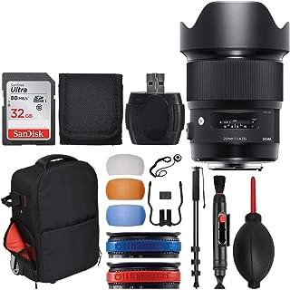 Sigma 20mm F1.4 Art DG HSM Lens for Nikon + 32GB Memory Card + Trolley Backpack + 72