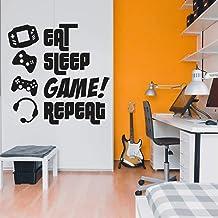(120cm x 120cm , Black) - EAT, SLEEP, GAME, REPEAT - Gamers Wall Art Vinyl Decal - Video Gamers Cool Wall Decor- Decoratio...