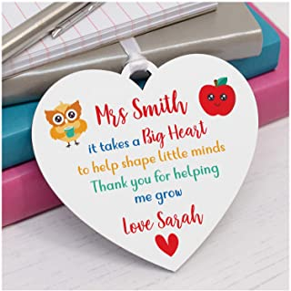 PERSONALISED Teacher Appreciation Gifts - Thank You Gifts for Teacher, Teaching Assistant, Key Worker, Head Teacher - Male, Female Teacher Gift - Takes A Big Heart To Shape Little Minds Plaque Gift