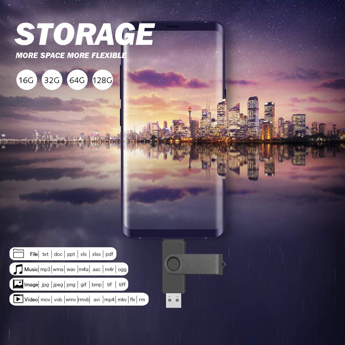 128GB, Black 128GB USB Flash Drive for Android Phone Memory Stick 2 in1 Micro USB Photo Stick USB 2.0 Thumb Drive