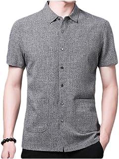neveraway Mens Short Sleeve Summer Linen Button Down Relaxed Fit Business Shirt