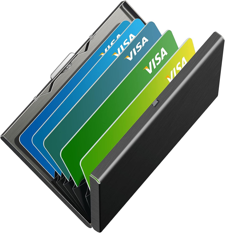 Swelite Slim RFID Credit Card Holder Metal Wallet Stainless Steel Cards Protector Case Business Card Holder for Men or Women