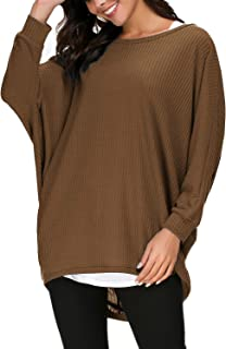 Urban CoCo Women's Round Neck Solid Knit Loose Pullover Sweater