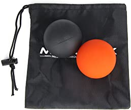 Motion RX Massage Lacrosse Ball Myofascial Release, Trigger Point Therapy, Muscle Knots Yoga Therapy (1 Orange 1 Black Lacrosse Ball)