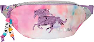 Depesche 11062 Miss Melody - Crossbag im rosa Batik-Design mit Pferd aus Streich-Pailletten, Bauchtasche mit Reißverschlus...