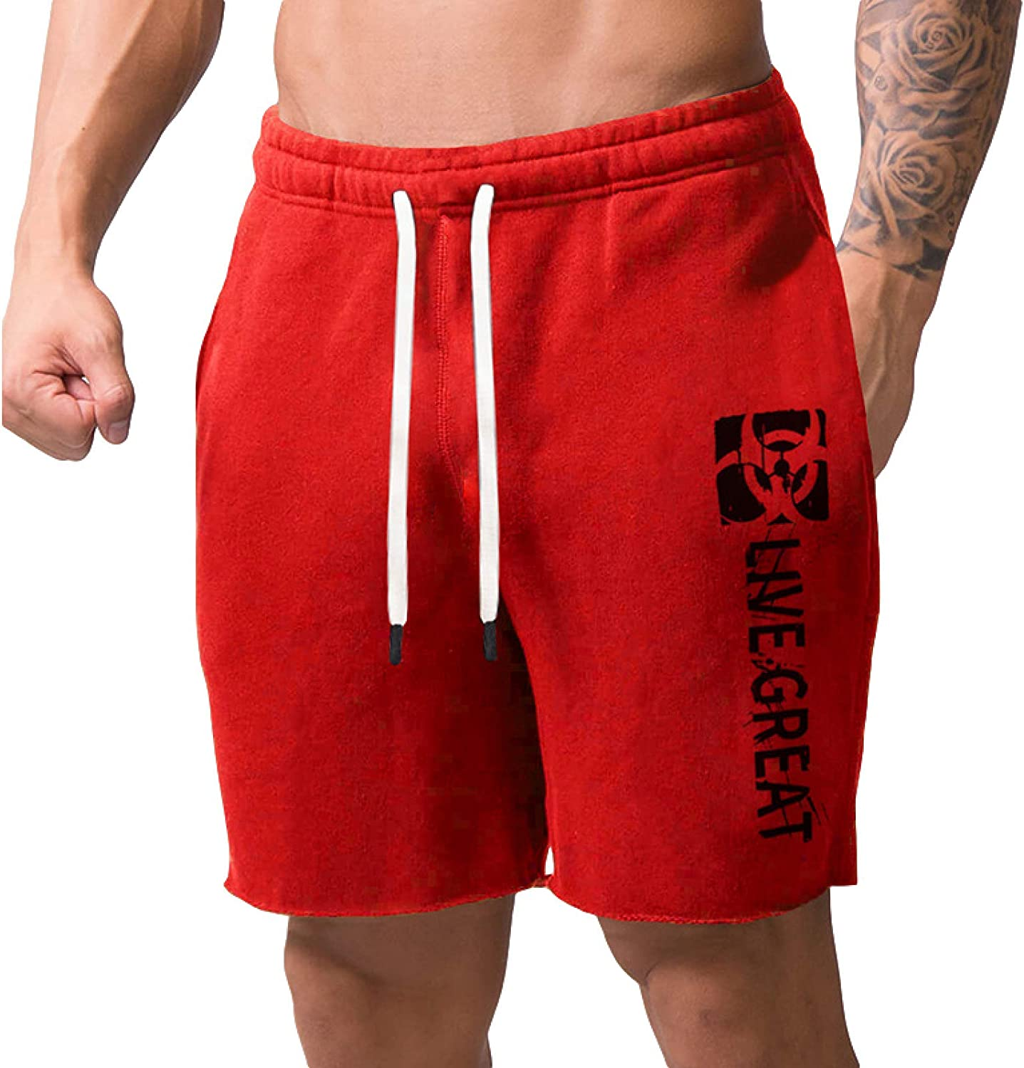 Men's Fitness Shorts Fashion Mid Waisted Loose Large Size Comfortable