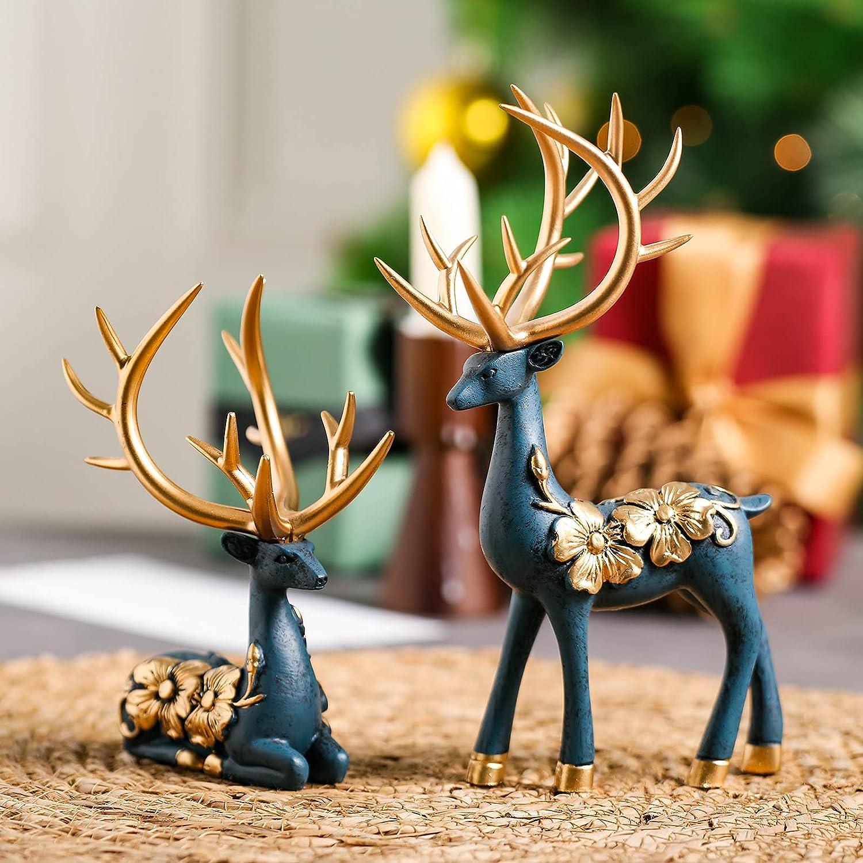 Deers Christmas Decor Blue Deers Figurine Home Decoration Set of 2 Delicate Resin Reindeer Statue Deer Christmas Ornaments Fireplace Decorations for Living Room