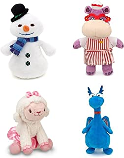 Disney Junior Jr Doc McStuffins CHILLY Snowman Bean Bag Plush & Hallie Hippo Bean Bag Plush & Stuffy Dragon Beanbag Plush and Lambie Beanbag Plush Doll