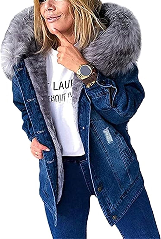 HSOSK Women's Winter Jacket Denim Jacket Artificial Fur Hood Denim Jacket Artificial Fleece Lined Coat Hooded Jacket Outwear